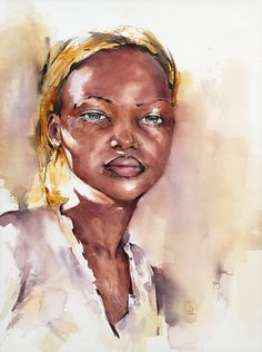 by French watercolourist Benjamin Berger Watercolor Face, Watercolor Portraits, Watercolor Paintings, Watercolours, Abstract Art Images, Human Anatomy Art, Black Art Painting, Portrait Inspiration, Easy Paintings