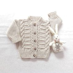 Aran baby cardigan  0 to 6 months  Infant Aran by LurayKnitwear