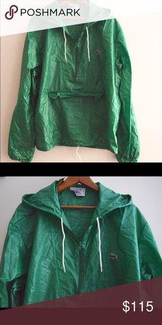 Vintage 70s Lacoste Windbreaker Vintage 70s Izod Lacoste Hooded Windbreaker Jacket in Green. Super lightweight.   Size Large.  Also on website. Lacoste Jackets & Coats