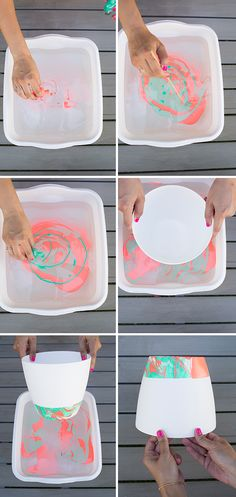 Marbled Hanging Planter DIY with nail polish.