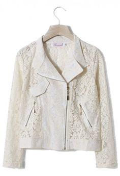 Full Floral Lace Jacket in Ivory