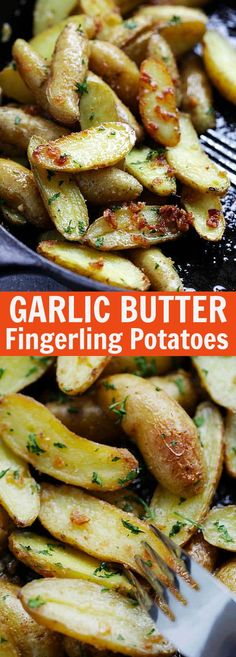 Garlic Butter Roasted Fingerling Potatoes – easiest and best roasted potatoes ever with only 5 ingredients and takes 30 mins from prep to dinner table. So good | rasamalaysia.com