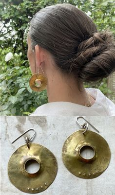 Cymbals Hand made brass and sterling silver earrings
