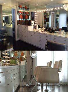 Kylie Jenner Glam Room XOXO // use my uber code Kylie Jenner Haus, Jenner House, Kylie Jenner Beauty Room, Makeup Room Decor, Makeup Rooms, Kourtney Kardashian, Vanity Room, Glam Room, Interior Design Living Room
