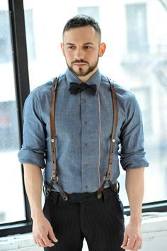 tan suspenders, chambray button up, navy bowtie, pants