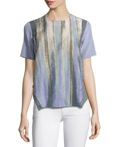 Floating Seam T-Shirt Blouse, Midnight Purple - Prabal Gurung