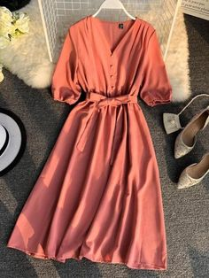 Women's Mid Waist A Line Dress V Neck Basics Half Solid Color Midi dresses Best Picture For Plus Size Summer Outfits classy For Your Taste You are looking for something, and it is going to tell you ex Cute Dresses, Casual Dresses, Midi Dresses, Sleeve Dresses, Dress Outfits, Fashion Dresses, Summer Day Dresses, Summer Outfits, Cheap Dresses Online