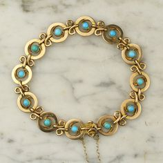 Edwardian 15k Gold and Turquoise Chain Bracelet by ArtifactVintage