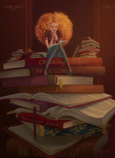"""Book Worm"" -  Illustration by Kristy Lender  - #reading #books"