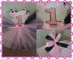 Pink Black 1st Birthday Cake Smash Tutu Outfit LR Designs Tutu Boutique December 2014