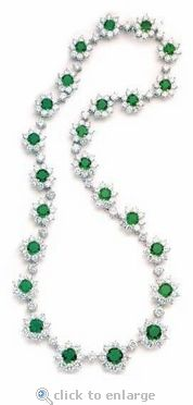 Ziamond Cubic Zirconia Round Cluster Necklace.  The Franca Necklace features emerald green colored round cubic zirconia with a total carat weight of over 35 carats. #ziamond #cubic zirconia #necklace #emerald #green #cluster #weddding