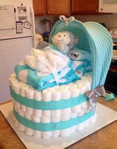"A bassinet diaper ""cake"" - a twist on the traditional diaper cake!"