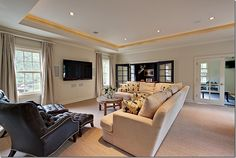 lights, doors, pillow, chairs, media rooms, watch movi, place, leather, design