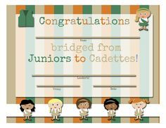 Girl Scouts: FREE Printable Bridging Certificates - Juniors to Cadettes