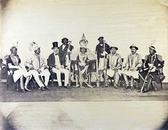 This Photograph shows the King of Nepal, Maharaj Dhiraj Surendra Bikram Sah, (ruled 1846-81), Col George Ramsay, the British Resident, who represented the Government of India as Ambassador (Nepal was otherwise closed to Europeans), is on the King's right. Raj Guru, the chief Hindu priest of Nepal, is on the King's left. Sitting on Colonel Ramsay's right is one of Jang Bahadur's brothers, probably Jagat Shamsher, 1863.