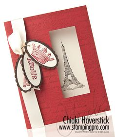 eiffel tower & cherrycobbler card    Love the window from square punch!