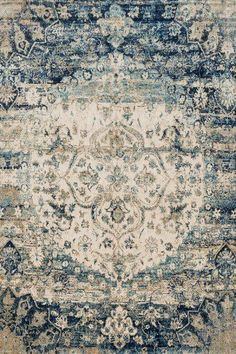 Blue, Ivory Vintage / Overdyed Area Rug Living Colors, Transitional Rugs, Blue Ivory, Blue Cream, Rugs Online, Rug Making, Blue Area Rugs, Blue Rugs, Anastasia