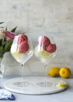 Lemon Raspberry Prosecco Floats ● this is a go-to for all your barbecue, celebration and mental health days this spring and summer!