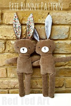 Hase nähen gifts to sew Free Bunny Doll Pattern - Red Ted Art - Make crafting with kids easy & fun Sewing Stuffed Animals, Stuffed Animal Patterns, Stuffed Animal Diy, Handmade Stuffed Animals, Sewing For Kids, Free Sewing, Sewing Tips, Sewing Hacks, Sewing Tutorials