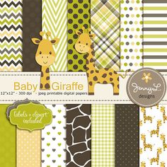 Giraffe Baby Shower Digital Papers and by JennyLDesignsShop