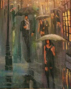 Walking in the Rain Art Print by Tom Shropshire. All prints are professionally printed, packaged, and shipped within 3 - 4 business days. Walking In The Rain, Singing In The Rain, Girl In Rain, City Rain, Rain Pictures, Rain Design, Scratchboard Art, Rain Painting, Under The Rain