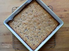 Flourless Coconut-Almond Bars in enamel pan - An Oregon Cottage