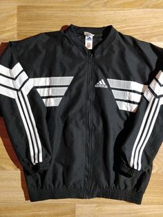 59014d79e729c Adidas 90 s Vintage Mens Tracksuit Top Jacket Black White TSV Ohrnberg