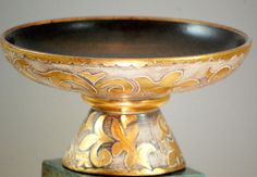 Vintage California Pottery Hollywood Regency Gold And Brown Console Bowl