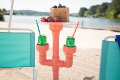 Keep your drink cold and free of sand with this clever DIY project. Pvc Pipe Crafts, Pvc Pipe Projects, Craft Projects, Craft Ideas, Play Ideas, Welding Projects, Kid Crafts, Wood Projects, Outdoor Drink Holder