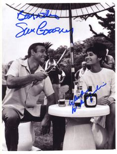 JAMES BOND 007 movie 8x10 photo signed by Akiko Wakabayshi & Sean Connery. This is a great shot of both of them with Connery shedding a little wry smile. This pic alone defines Connery as the one and only true Bond! If you are at all aware of the signing habits of Wakabayshi, you will appreciate its value. Wakabayshi NEVER was involved with an official signing.