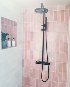 pink bathroom So so happy with this pretty corner in our bathroom! I was a bit worried once we ordered the pink tiles tegelsinhuis and everybody looked Bathroom Layout, Bathroom Interior Design, Pink Tiles, Pink Bathroom Tiles, Laundry In Bathroom, Washroom, Design Your Home, My New Room, House Rooms
