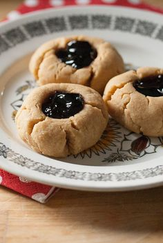 Peanut Butter and Jelly Thumbprint Cookies - soft peanut butter cookies with a sweet grape jelly center.