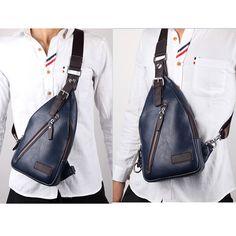 3c984f1db Men PU Leather Retro Portable Leisure Shoulder Bag Chest Bag Crossbody Bag  is worth buying -