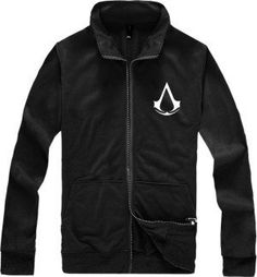 Leecos Assassin s Creed Capless Zipper Cardigan Sweater Jacket Collar Jacket  by Leecos 55d527eba76