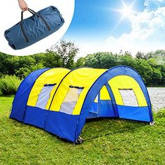 TecTake Camping tent 3000 mm hydrostatic head tunnel with foyer 4 - 6 man persons waterproof
