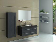 Meuble de salle de bain en bois avec simple vasque coloris Noir Réf: AS995-1