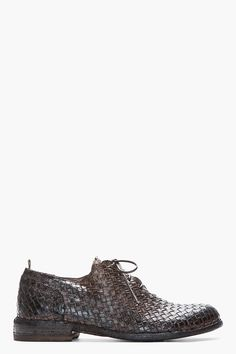 OFFICINE CREATIVE Dark Brown Polished Leather Woven Intreccio Dama Shoes