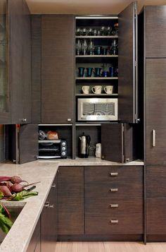 Tall Cabinets w corner design Kitchen And Bath Design, Kitchen Reno, Kitchen Ideas, Kitchen Cabinets, Apt Ideas, Reno Ideas, House Building, Building Ideas, Kitchen Organization