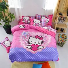 Home Textile Cartoon Children Kids Bedding Set Red Minions Hello Kitty Mickey Mouse Bed Linen Duvet Cover Bed Sheet Queen Sizes Teen Bedding Sets, Gold Comforter, Hello Kitty Bedroom, Kids Comforters, Duvet Cover Sets, Comforter Cover, Bed Sheets, Home Textile, Bed Linens