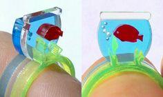 Fish Bowl Lasercut Acrylic Ring Set. Etsy. So cute