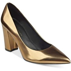 Marc Fisher Daniela Pointy-Toe Block-Heel Pumps ($79) ❤ liked on Polyvore featuring shoes, pumps, gold, block heel pumps, gold shoes, gold pointy toe pumps, pointy toe pumps and gold pointed toe pumps