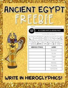 hieroglyphics for kids printable / hieroglyphics for kids , hieroglyphics for kids printable , hieroglyphics for kids activities , hieroglyphics for kids crafts Ancient Egypt Lessons, Ancient Egypt Activities, Ancient Egypt For Kids, Ancient Civilizations Lessons, Ancient History, Ancient Egyptian Food, Greek History, European History, Egyptian Art
