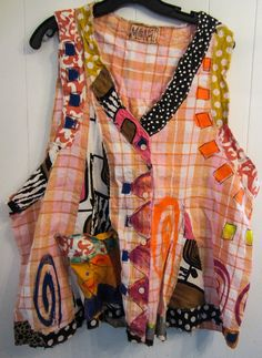 Hand painted Plaid Artist vest ctoon Upcycled fits by monapaints