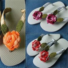 Risultati immagini per sandalias havaianas decoradas croche Crochet Sandals, Crochet Shoes, Crochet Slippers, Crochet Clothes, Knit Crochet, Crochet Crafts, Yarn Crafts, Crochet Projects, Crochet Flip Flops