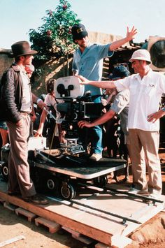 Steven Spielberg, Harrison Ford and Paul Freeman on the set of Raiders of the Lost Ark
