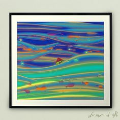 Fishy night shimmering sky Naive art by Ofir mor - visit me on istagram(: #landscape #art #print #colorful #poster #deco