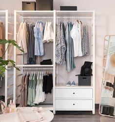 Get Inspired For Ikea No Closet Solutions Ikea Closet Storage, Closet Storage Systems, Wardrobe Systems, Closet System, Bedroom Storage, Bedroom Decor, Ikea Elvarli, Algot Ikea, Ikea Hack