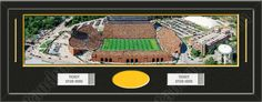 One framed large University of Iowa stadium panoramic with openings for one or two ticket stubs* and one or two 4 x 6 inch personal photos**, double matted in team colors to 39 x 13.5 in.  The lines show the bottom mat color.  $179.99 @ ArtandMore.com