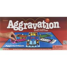 Winning Moves Aggravation - the classic marble race game! Race around the board from Base to Home. Take shortcuts to zip ahead and try the super shortcut to shoot across the board. Suitable for ages 6 and older.