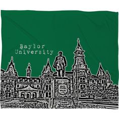 Baylor University green fleece throw blanket // Perfect for the living room!